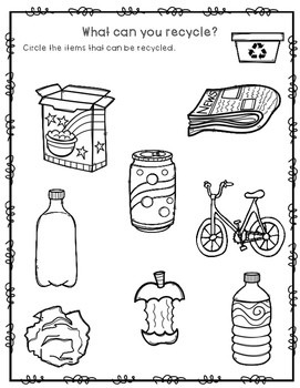 What can you recycle worksheet FREEBIE