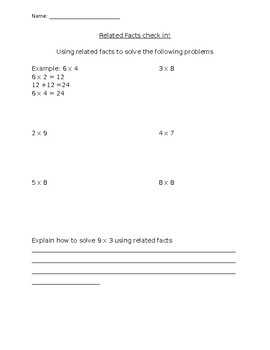 Related Multiplication Facts Worksheet by My Little Nug s