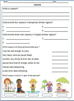 Season and Weather Worksheets