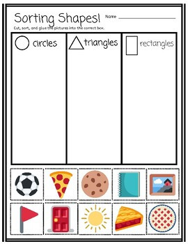 Sorting By Real World Shapes cut and paste activity Pre K Kindergarten