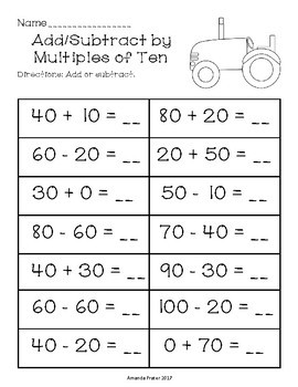 Add and Subtract Multiples of 10 Worksheets Center Activity and Clip Cards