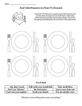 Teaching Table Manners Worksheets