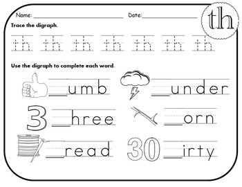TH Digraph Worksheets