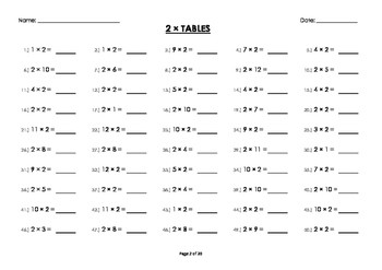 2 x Two Multiplication Times Tables Drill Mental Maths Worksheets Booklet