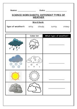 Science worksheets Different types of weather