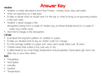 Weather and Climate Worksheet Answers