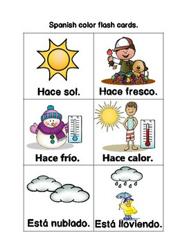 Weather Expressions In Spanish Worksheets