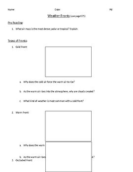Weather Fronts Worksheet Middle School
