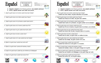 Weather In Spanish Worksheets