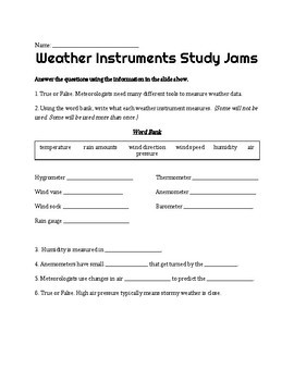 Weather Instruments Worksheet Answers