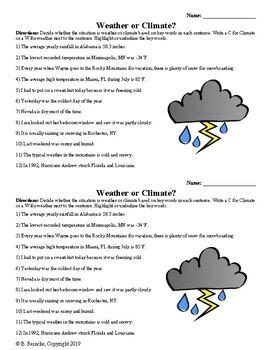 Weather or Climate Worksheet