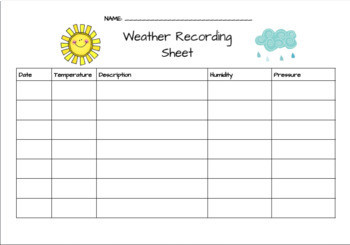 Weather Tracking Chart Worksheet