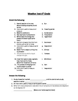 Weather Test 5th Grade