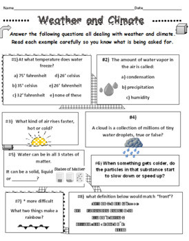 Weather Worksheets for First Graders