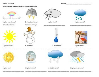Weather Worksheets In Spanish