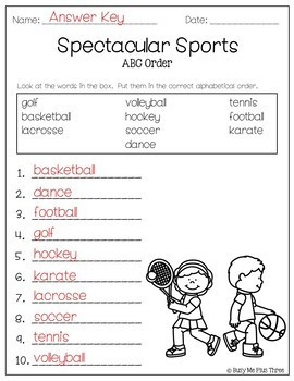 ABC Order Worksheet FREE Alphabetical Order Activities 1st & 2nd Letter