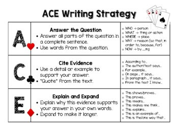 Ace Writing Strategy Worksheets