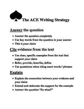 ACE Writing Strategy poster handout worksheet