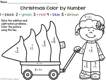FREE Christmas Color by Number Addition & Subtraction Within 10