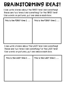 Small Moments Brainstorming Worksheets & Teaching Resources