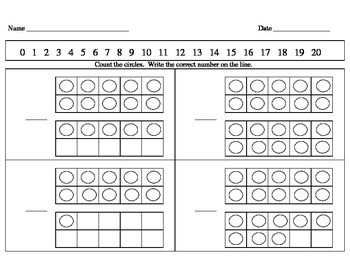 Kindergarten Math Counting Book and Worksheets 1 20