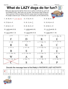 Point Slope Practice Fun Engaging Puzzle Activity