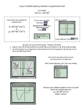 Graphing Calculator Activity Worksheets