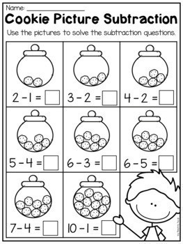 Kindergarten Addition and Subtraction Worksheets up to 10 Distance Learning