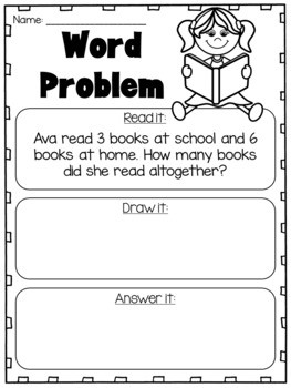 Addition and Subtraction Word Problems to 10 Kindergarten Worksheets
