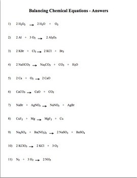 Practice Writing Chemical Equations Worksheet