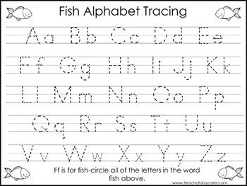 2 Fish themed Task Worksheets Trace the Alphabet and Numbers 1 20 Preschool KD