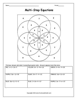 Solving Multi Step Equations Worksheets and Activities Bundle