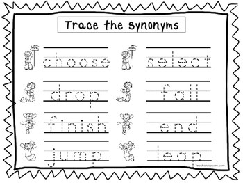 2 Trace the Synonyms Worksheets Preschool KDG Handwriting
