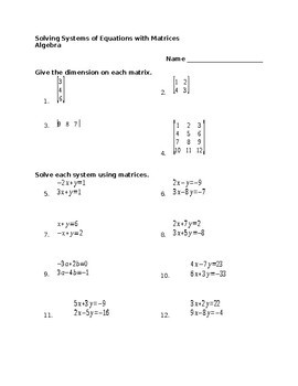 Systems Of Equations Activity Worksheet
