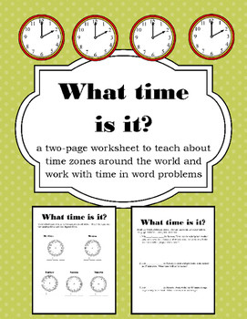 Time Zone Activity Worksheet
