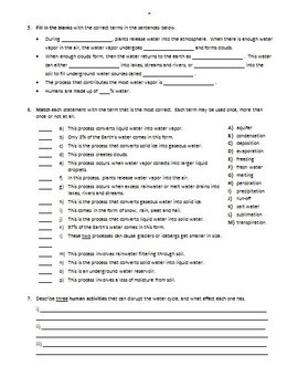 Water Cycle Activities Worksheets