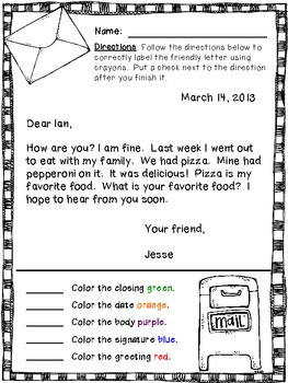 Writing A Friendly Letter Worksheet