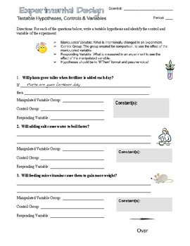 Writing A Hypothesis Worksheet Answers