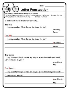 How to Write a Letter Practice Worksheet Letter Writing Letter Punctuation