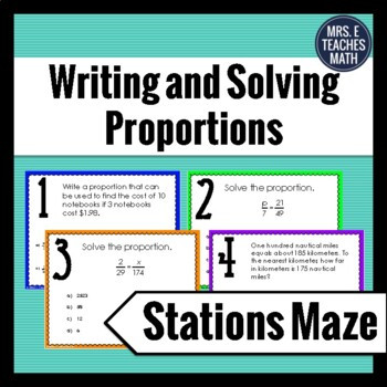 Writing and solving Proportions Worksheet