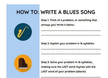 How To Write A Blues Song WORKSHEET 12 Bar Blues Lyric Writing Activity