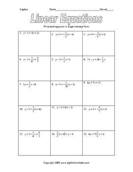 Writing Equations and Inequalities Worksheet