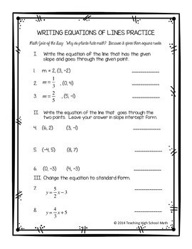 Writing Equations Practice Worksheet