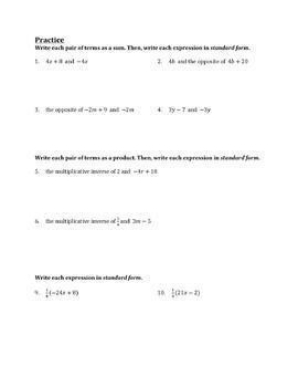 Writing Equivalent Expressions Worksheet