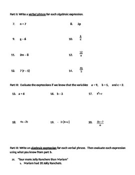 Writing Expressions with Variables Worksheet