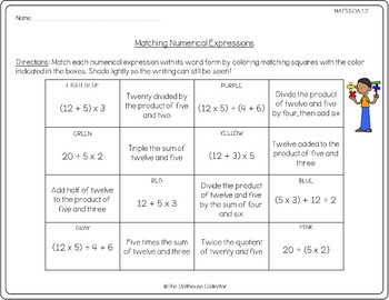 Writing Expressions Worksheet 5th Grade