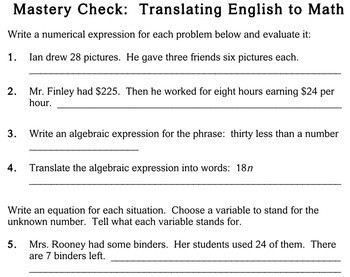Writing Expressions & Equations 5th grade worksheets Individualized Math