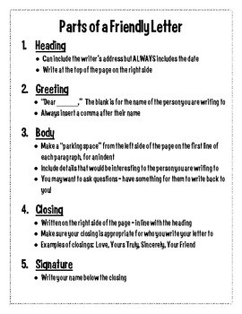 Writing Friendly Letter Worksheets