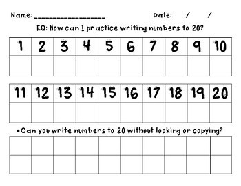 Writing Numbers to 20 Worksheets