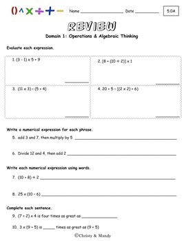 Writing Numerical Expressions Worksheets